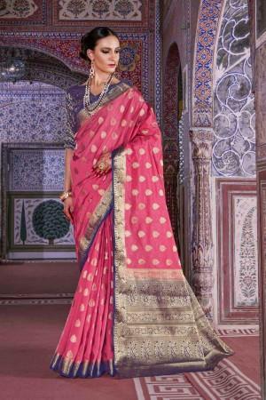 Splendiferous Pink Nylon Silk Hand Dyeing Saree