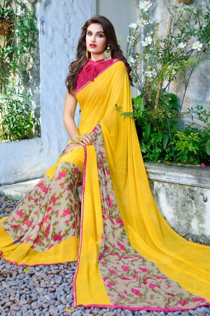 Marvelous Yellow Georgette Beautiful Printed Saree