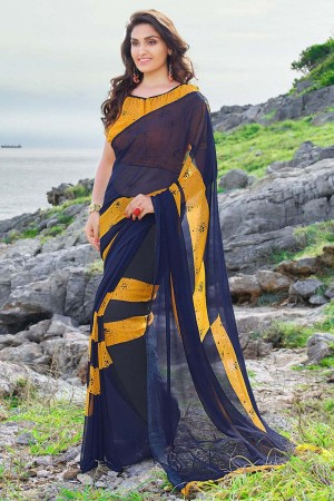 Majestic Navy_blue Georgette Printed Saree
