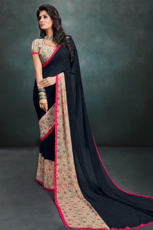 Glamorous Black Georgette Printed With Lace Border Saree