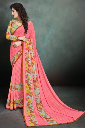 Aesthetic Peach Georgette Printed With Lace Border Saree