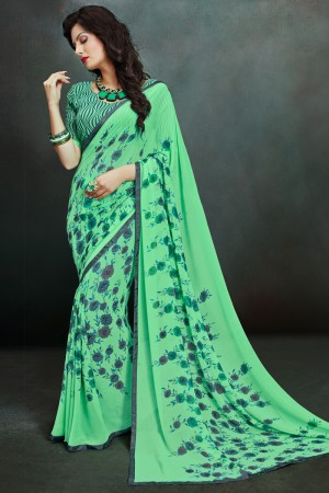 Amiable Green Georgette Printed With Lace Border Saree