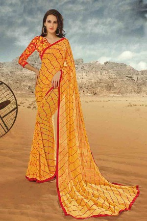 Charming Yellow Georgette Printed With Lace Border Saree