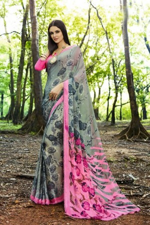 Dazzling Green Satin Printed With Lace Border Saree