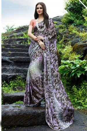 Awesome Violet Satin Printed With Lace Border Saree