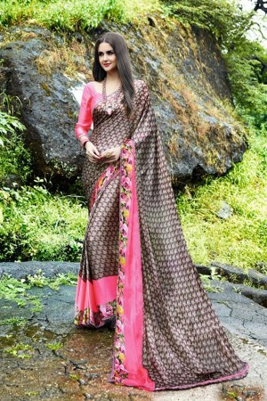 Tremendous Copper Satin Printed With Lace Border Saree