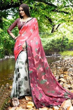 Dynamic Multicolor Satin Printed With Lace Border Saree