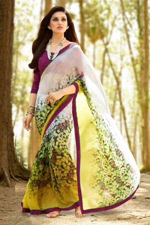 Creative White Georgette Printed With Lace Border Saree