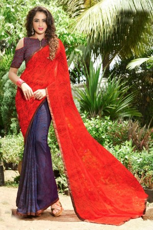 Dreamy Red Georgette Print with Lace Border Saree