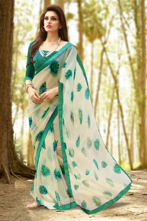Enticing Cream Georgette Printed With Lace Border Saree