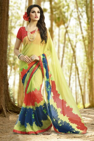 Mesmerising Yellow Georgette Printed With Lace Border Saree