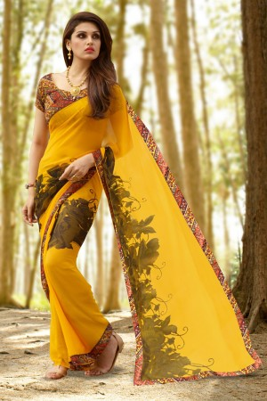 Amazing Light_orange Georgette Printed With Lace Border Saree