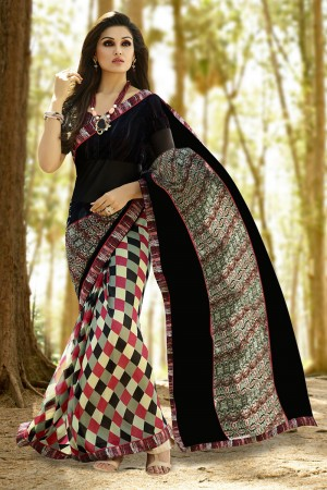 Appealing Black Georgette Printed With Lace Border Saree