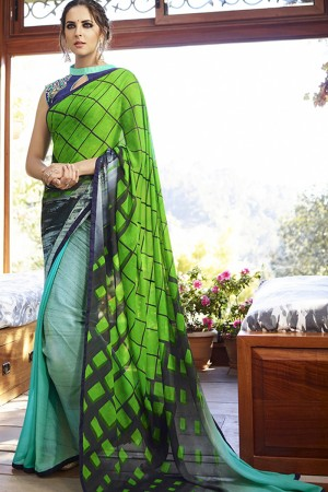 Royal Green Georgette Embroidery Blouse with Hand Printed Saree