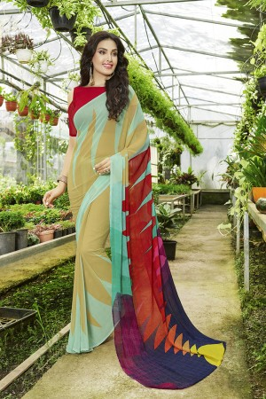 Luscious Multicolor Georgette Printed Saree