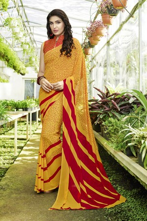 Glitzy Yellow Georgette Printed Saree