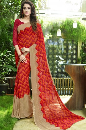 Angellic Orange Georgette Printed Saree