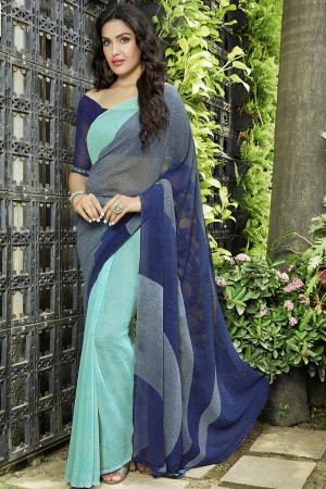 Ethnic Turquoise Georgette Printed Saree