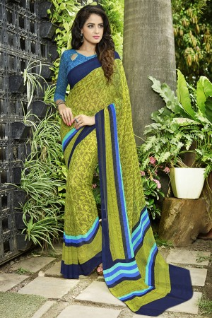 Dreamy Mehendi Georgette Printed Saree
