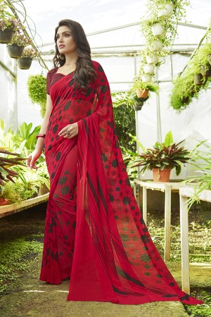 Classy Red Georgette Printed Saree