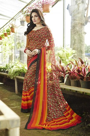 Designer Multicolor Georgette Printed Saree