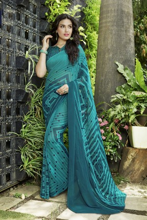 Beguiling Turquoise Georgette Printed Saree