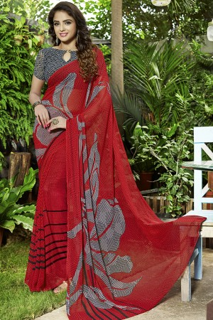 Enriching Red Georgette Printed Saree