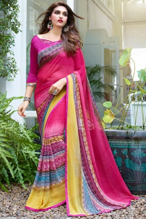 Pleasant Pink Georgette Beautiful Printed Saree
