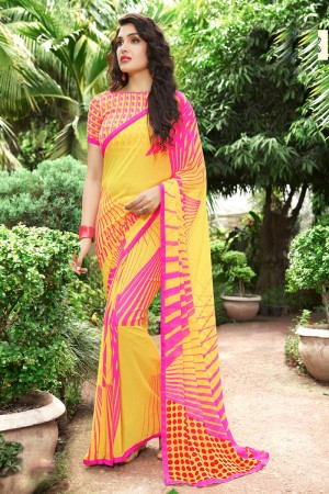 Fantastic Yellow Georgette Print with Lace Border Saree