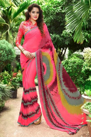 Fantastic Peach Georgette Print with Lace Border Saree