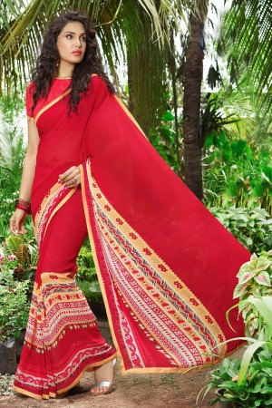 Glossy Red Georgette Print with Lace Border Saree