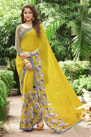 Sensuous Lemon Georgette Print with Lace Border Saree