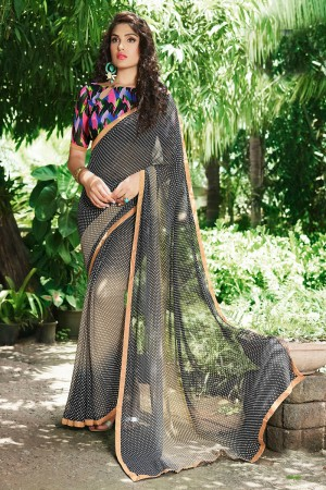 Glamorous Black Georgette Print with Lace Border Saree