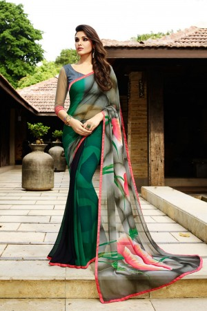 Fantastic Dark_green Georgette Embroidery Blouse with Hand Printed Saree
