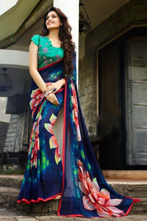 Glossy Multicolor Georgette Embroidery Blouse Hand Printed Saree