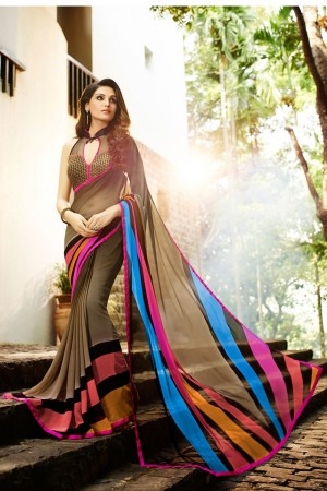 Sensuous Brown Georgette Embroidery Blouse with Hand Printed Saree
