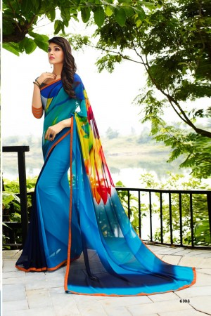 Glamorous Blue Georgette Embroidery Blouse with Hand Printed Saree