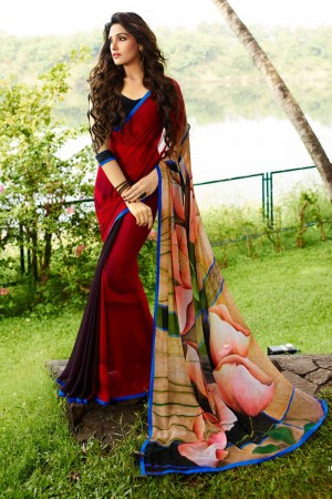 Aesthetic Red Georgette Embroidery Blouse with Hand Printed Saree