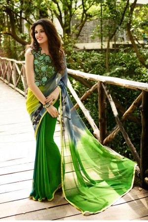Adorable Green Georgette Embroidery Blouse with Hand Printed Saree
