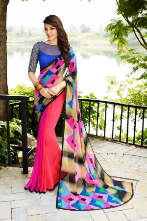 Dashing Pink Georgette Embroidery Blouse with Hand Printed Saree