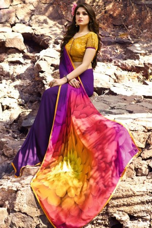 Tremendous Purple Georgette Embroidery Blouse with Hand Printed Saree