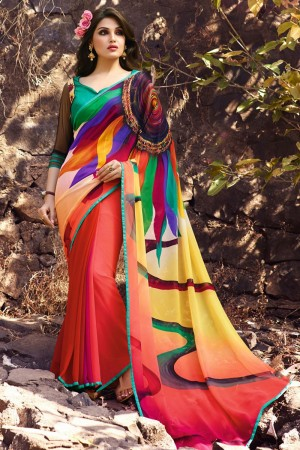 Immaculate Multicolor Georgette Embroidery Blouse with Hand Printed Saree