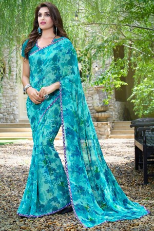 Stylish Blue Georgette Beautiful Printed Saree