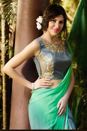 Vibrant Green Georgette Embroidery Blouse with Hand Printed Saree