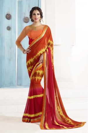Bewitching Orange Georgette Embroidery Blouse with Bandhej Printed Saree