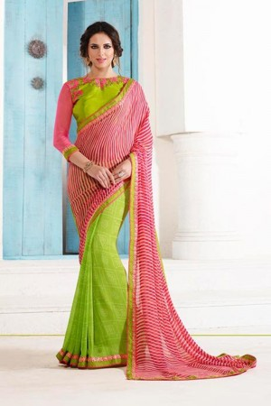 Refreshing Light_green Georgette Embroidery Blouse with Bandhej Printed Saree