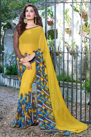 Fab Yellow Georgette Beautiful Printed Saree