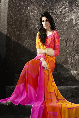 Refreshing Orange Georgette Printed With Lace Border Saree