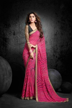 Graceful Pink Georgette Print with Lace Border Saree