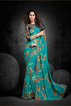 Fabulous Teal Georgette Print with Lace Border Saree